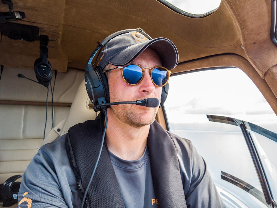 Pelorus co-founder Jimmy Carroll during recent helicopter-ops on a yacht expedition in Solomon Islands.