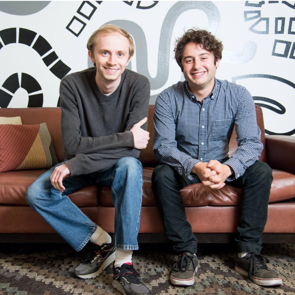 Figma founders Evan Wallace, left, and CEO Dylan Field.