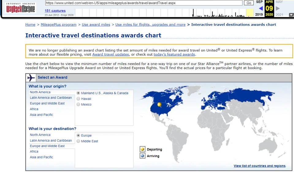 Wayback Machine shows United's interactive travel destinations award chat live as of April 9, 2020