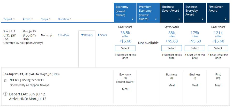 United award flight prices from LAX to HND