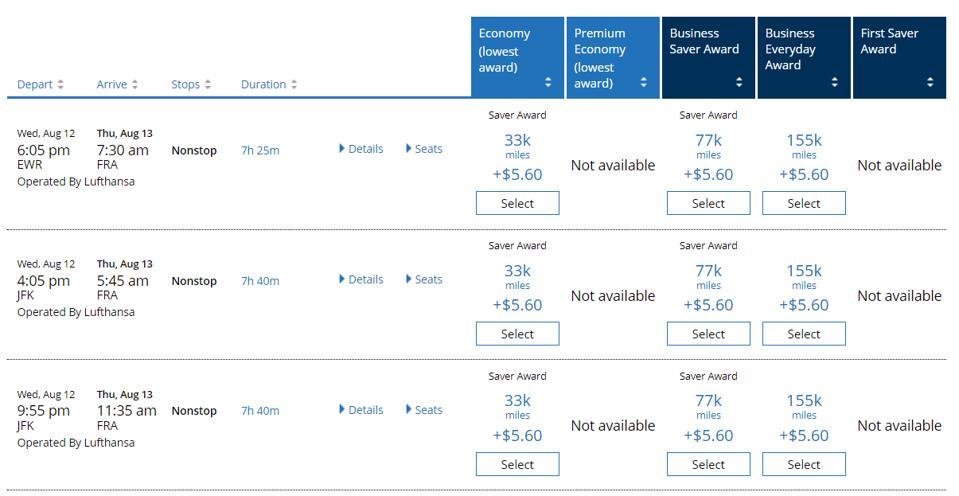 United award flight prices from New York to Frankfurt
