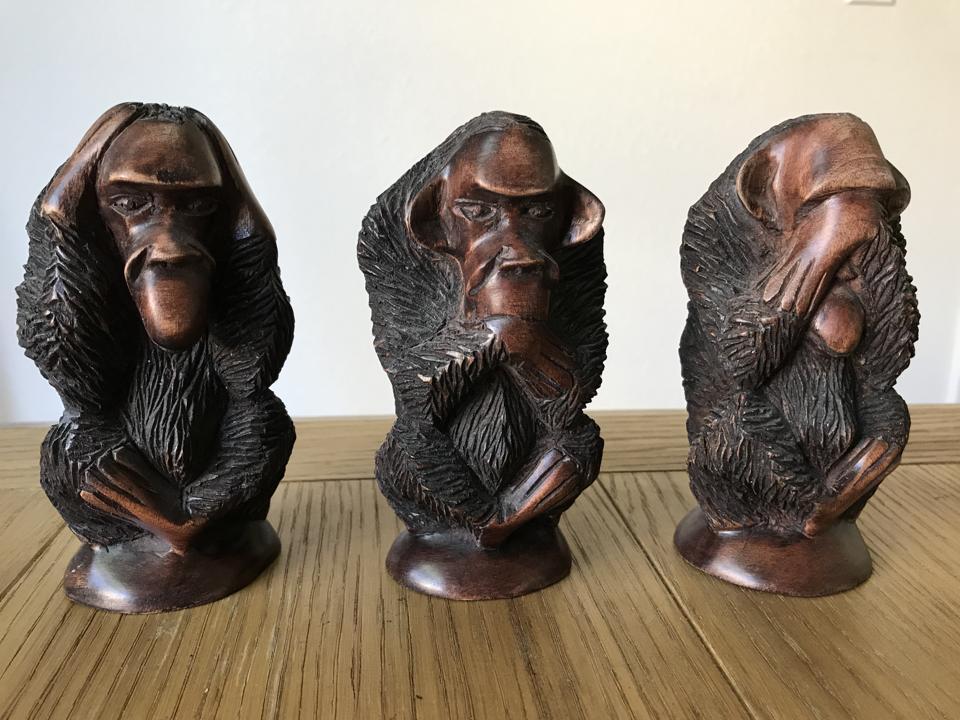 The 3 monkeys: see no evil, hear no evil, and say no evil