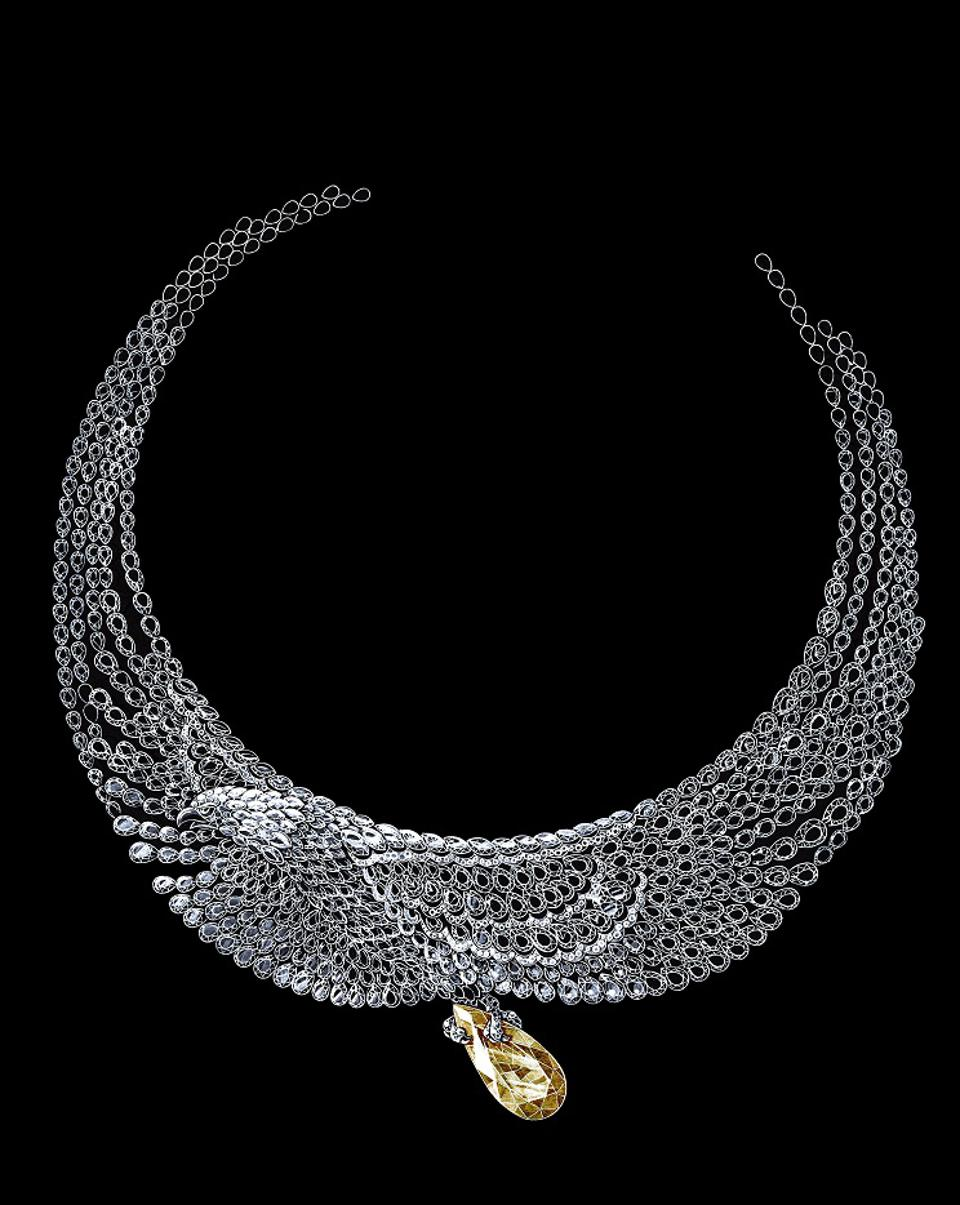 A sketch of the Chopard Eagle Necklace from the 2020 Red Carpet Collection