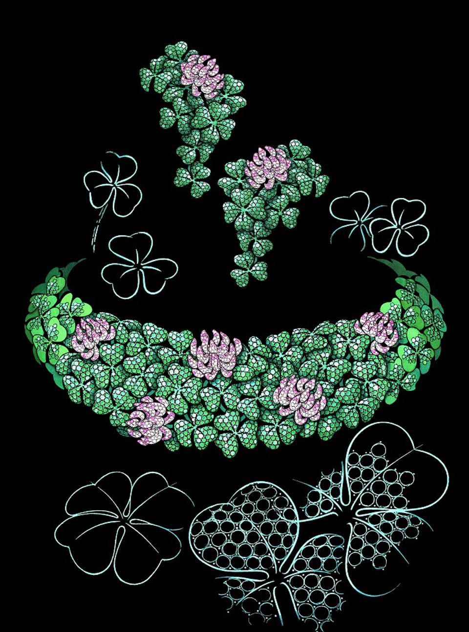 A sketch of the Chopard four-leaf Clover necklace from the 2020 Red Carpet Collection 2020