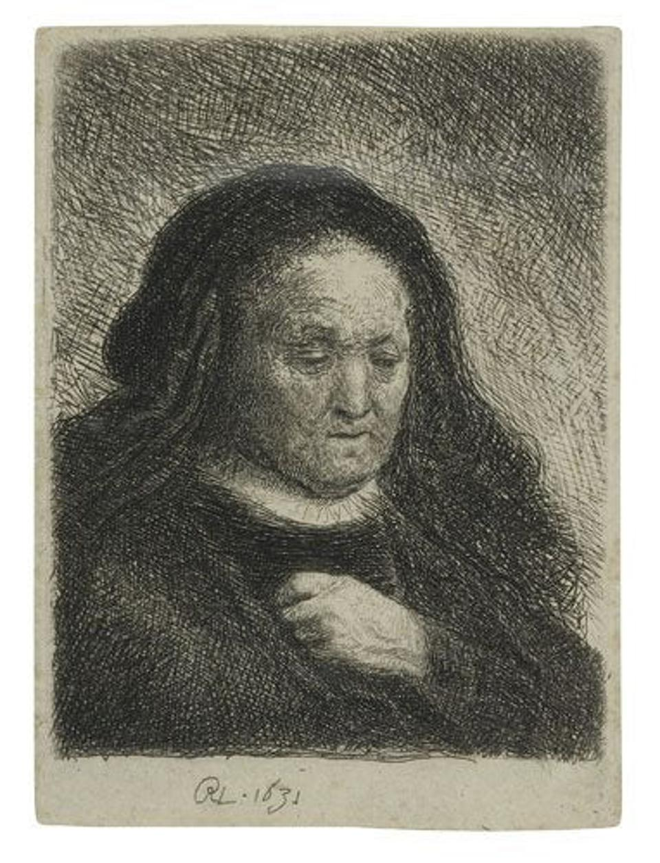Rembrandt's etching ″The Artist's Mother with her Hand on her Chest: Small Bust″