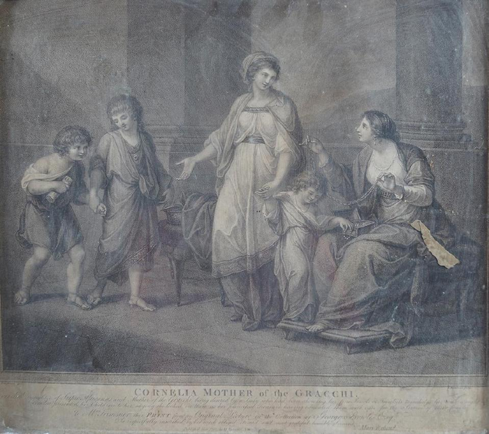 Etching after Angelica Kauffmann entitled ″Cornelia, Mother of Gracchi″