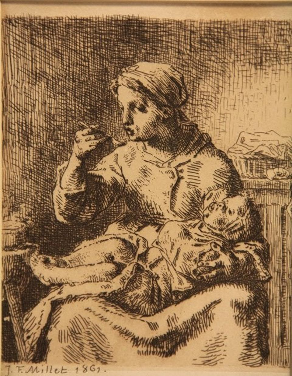 Jean Francois Millet etching from 1861