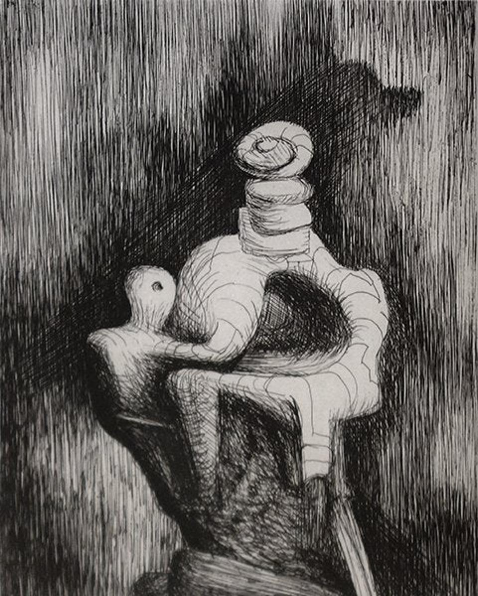 Henry Moore's ″Mother and Child″, an etching and drypoint from 1979