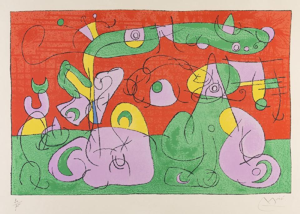 Joan Miro's color lithograph ″Bougrelas and His Mother″