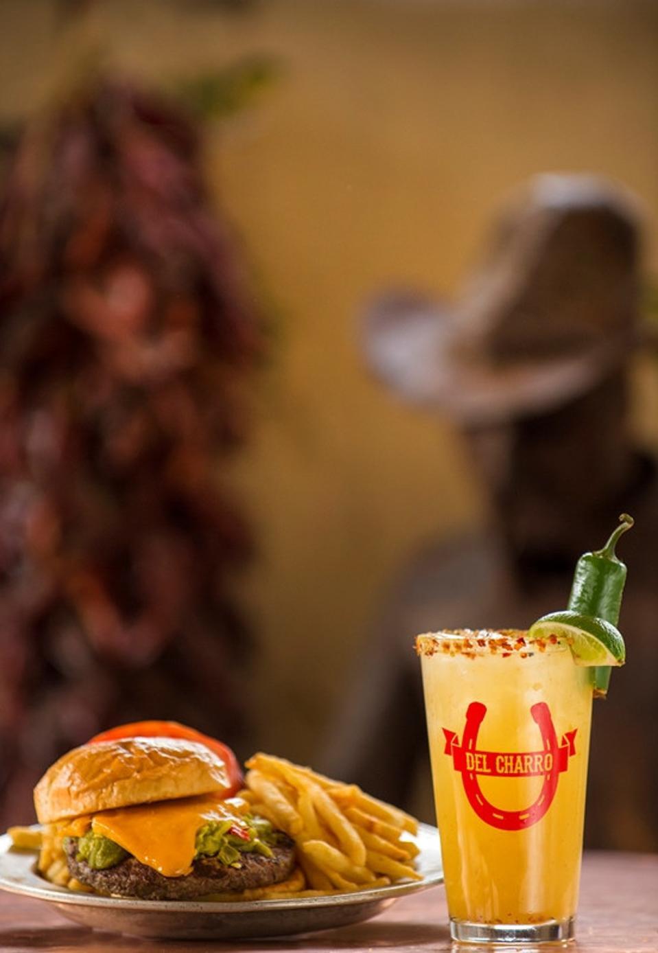 Margarita and cheeseburger.