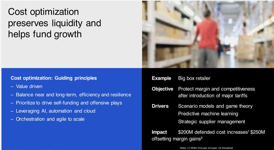 powerpoint slide describing cost optimization