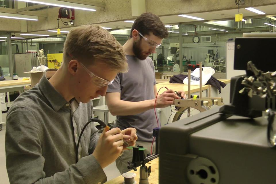 Engineers Petter Wehlin (L) and Bryan Duerfeldt (R).