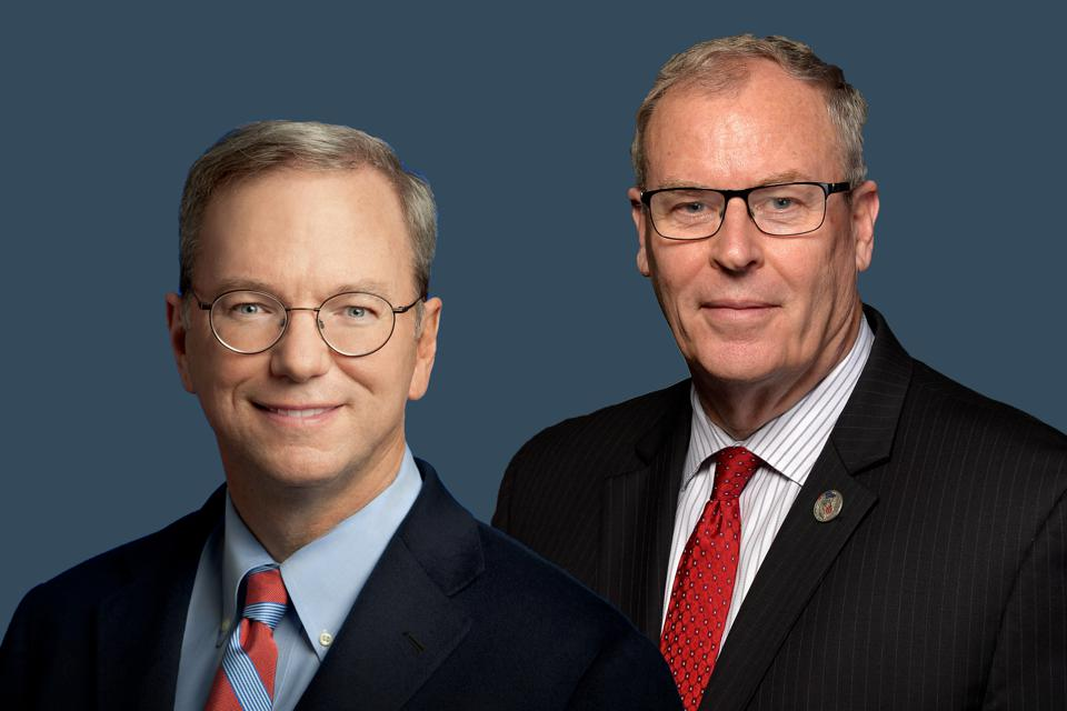 Eric Schmidt and Robert O. Work, co-chairs of the National Security Commission on Artificial Intelligence.