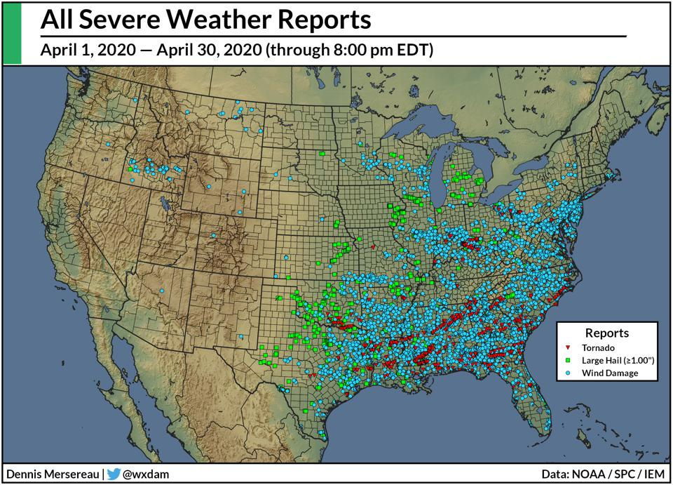 A map of severe weather reports between April 1 and April 30, 2020.