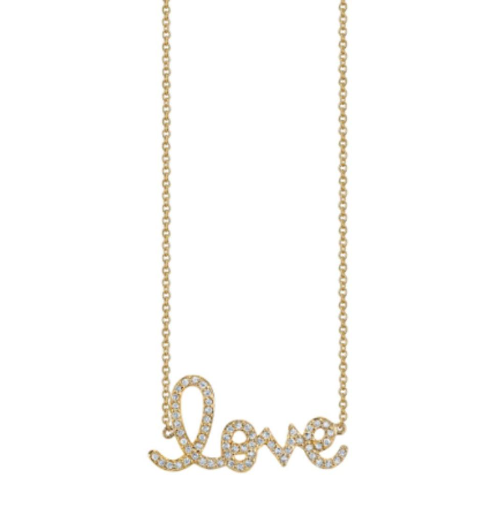 The iconic LOVE script necklace from SYDNEY EVAN