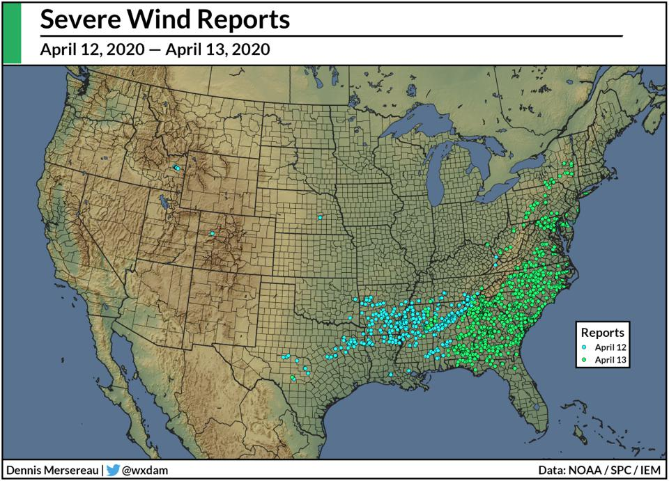 Severe wind reports during the severe weather outbreak of April 12-13, 2020.