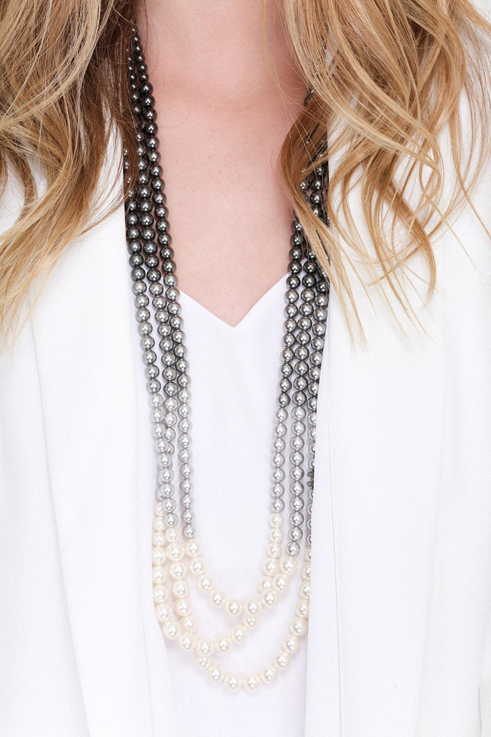 CHANEL Gradient Three Strand Faux Pearl at VIVRELLE