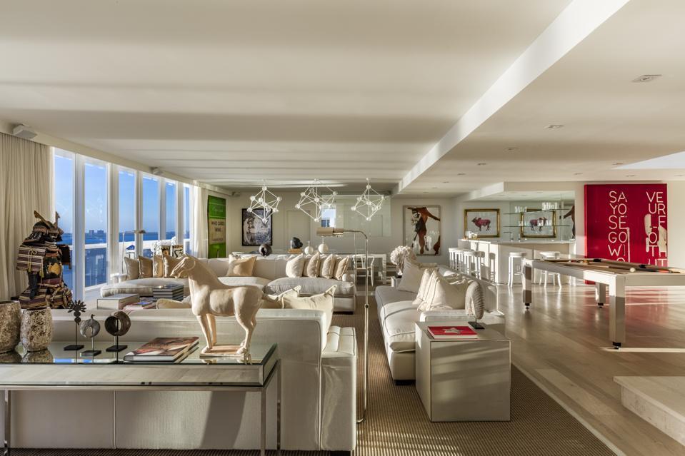 Minimalist interiors, eclectic art, Miami Beach, design