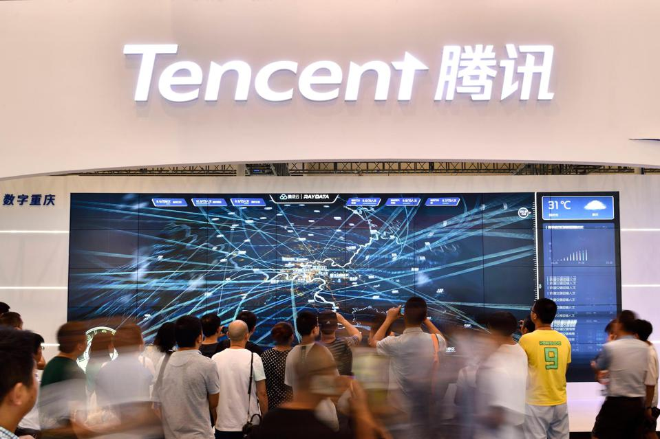 Tencent booth on day two of 2019 Smart China Expo.