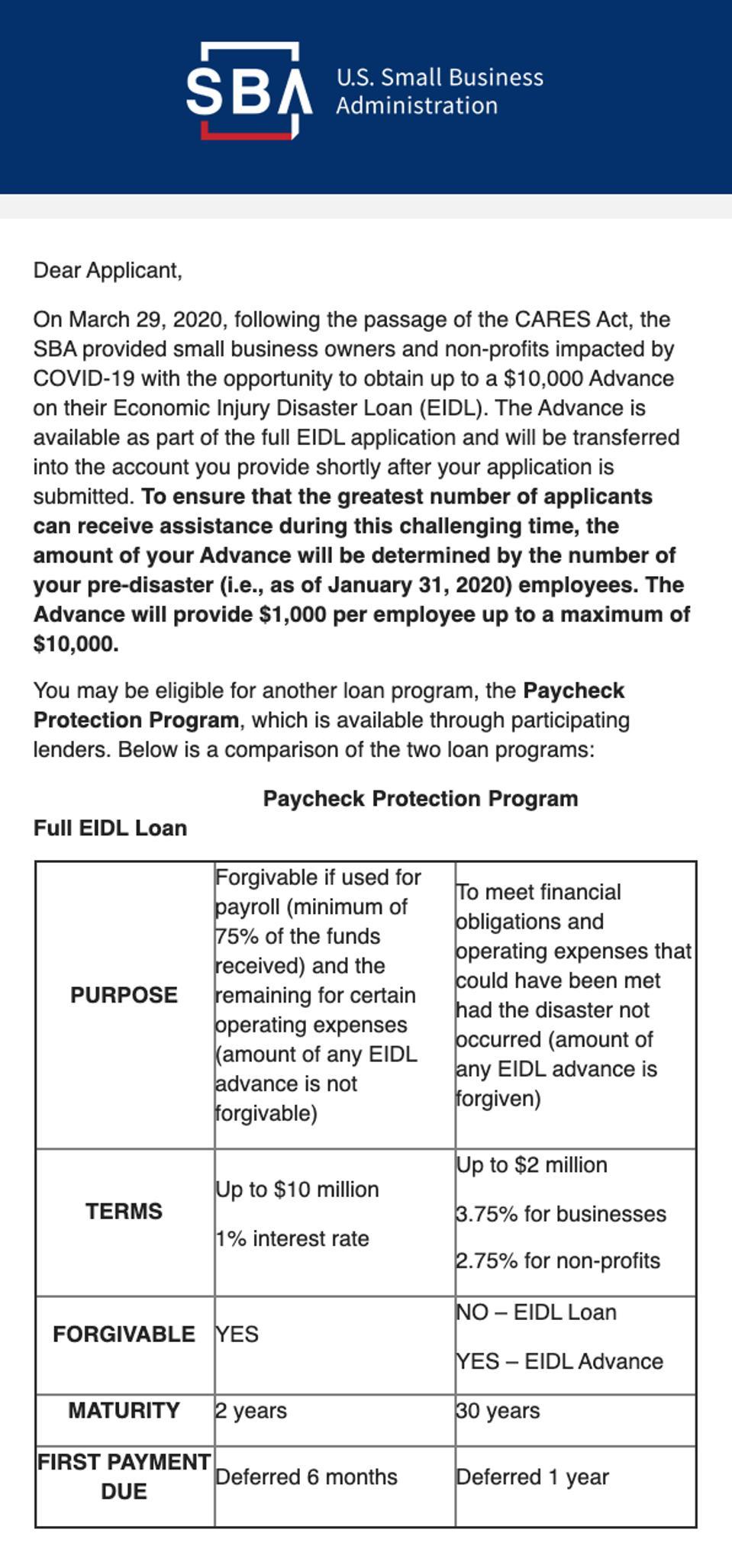 SBA steers EIDL applicants toward PPP.