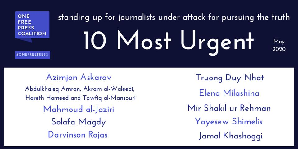 One Free Press Coalition May 2020 ″10 Most Urgent″ Graphic Card