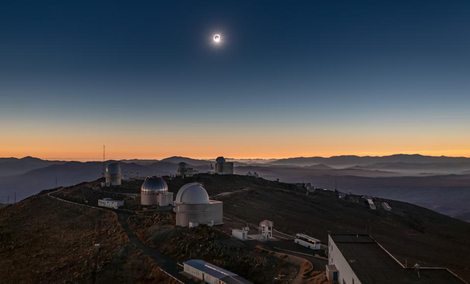 An image of the Sun during the total solar eclipse visible from ESO's La Silla Observatory on 2 July 2019 at the moment when most of its face is occulted by the moon. The eclipse lasted roughly two and a half hours, with almost two minutes of totality, and was visible across a narrow band of Chile and Argentina. To celebrate this rare event ESO invited 1000 people, including dignitaries, school children, the media, researchers, and the general public, to come to the Observatory to watch the eclipse from this unique location.