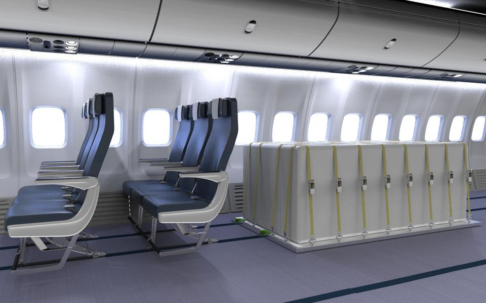 A new system would replace roes of seats in airplanes with freight storage, allowing passengers to sit spaced out in planes in between cargo.