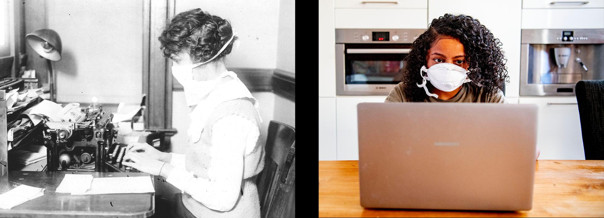 Stereo Typing: The technology may have improved, but office workers in 1918 would have understood the basic precautions taken by the WFH set today.