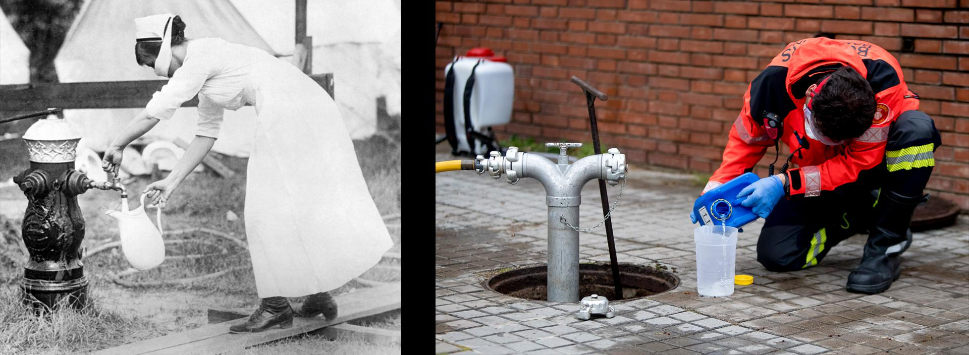 A Clean Start: Public health officials in 1918 preached the wisdom of hand washing. Today, first responders (like this Barcelona fire brigade member) ensure that water supplies are disinfected.