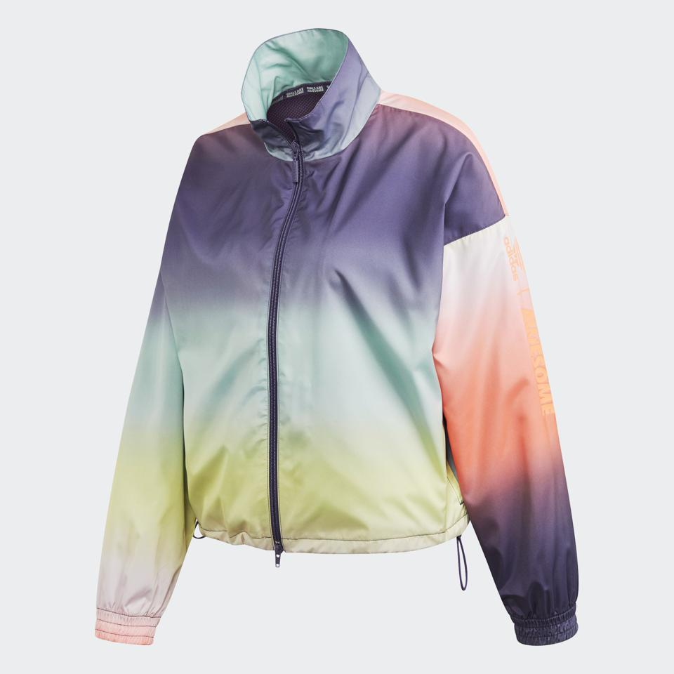Adidas Girls Are Awesome Track rainbow ombre windbreaker