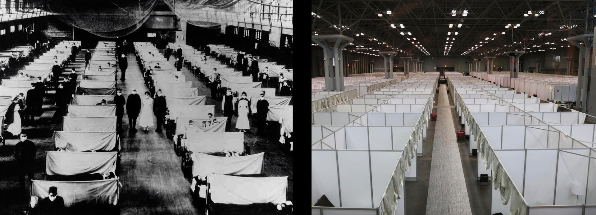 For Emergencies Only: With hospitals overburdened in both pandemics, temporary facilities were constructed for patients in warehouses and convention centers.