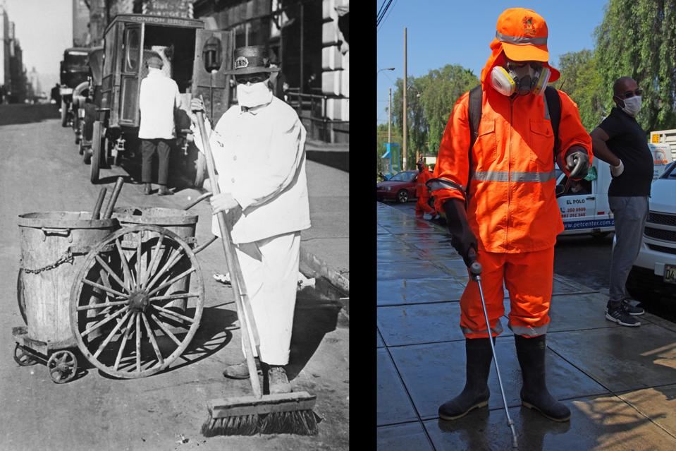 Clean Sweeps: Street cleaners in Lima, Peru, are better equipped today than their antecedents in 1918 New York City.