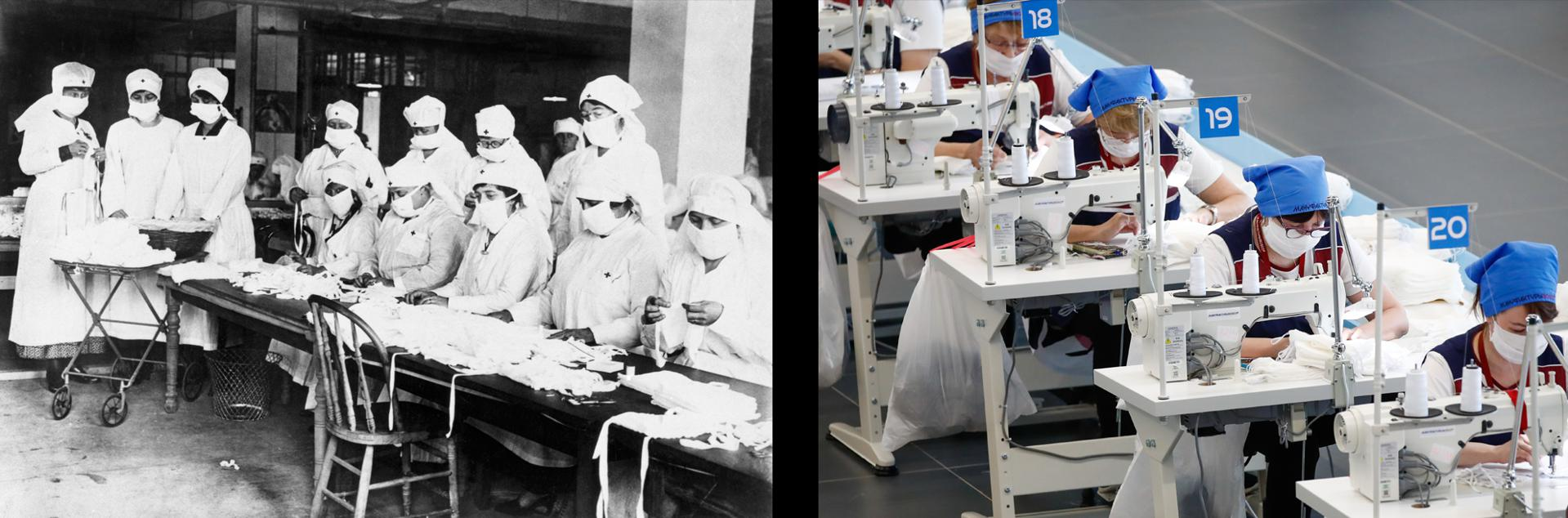"""Breathing Lessons: Both pandemics required armies of workers to produce face masks. Or as the New York Board of Health warned in 1918, """"Better to be ridiculous than dead."""""""