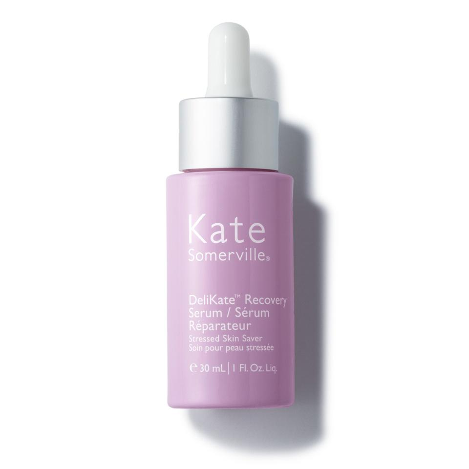 A lilac dropper bottle