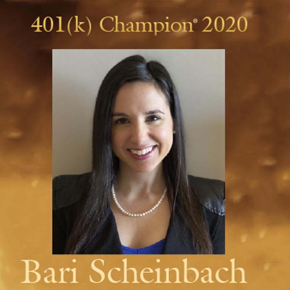 Bari Scheinbach is one of three recipients of the 2020 401(k) Champion® Award