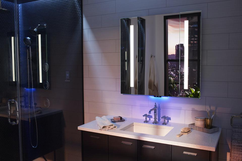 The Verdera Voice by Kohler includes LED lights snd voice control by Amazon Alexa.