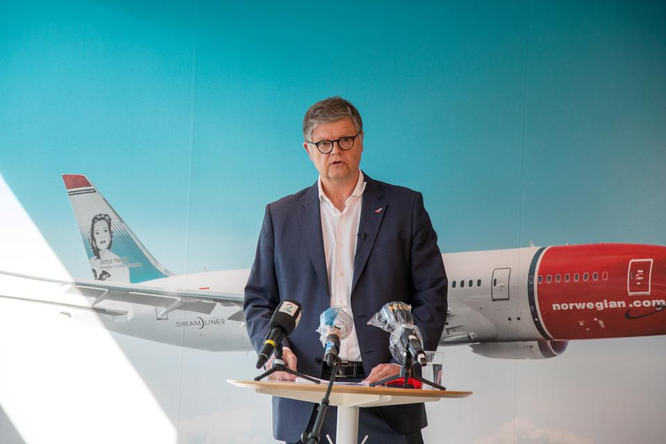 Norwegian CEO Jacob Schram at a press conference.