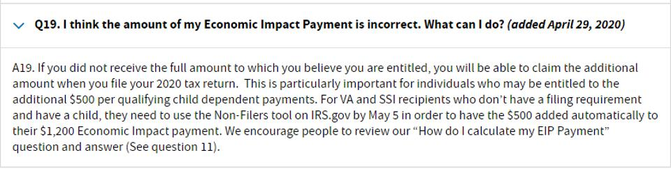 The IRS is telling filers who didn't receive $500 per qualifying child dependent payments to wait until 2021 to claim the additional amount.