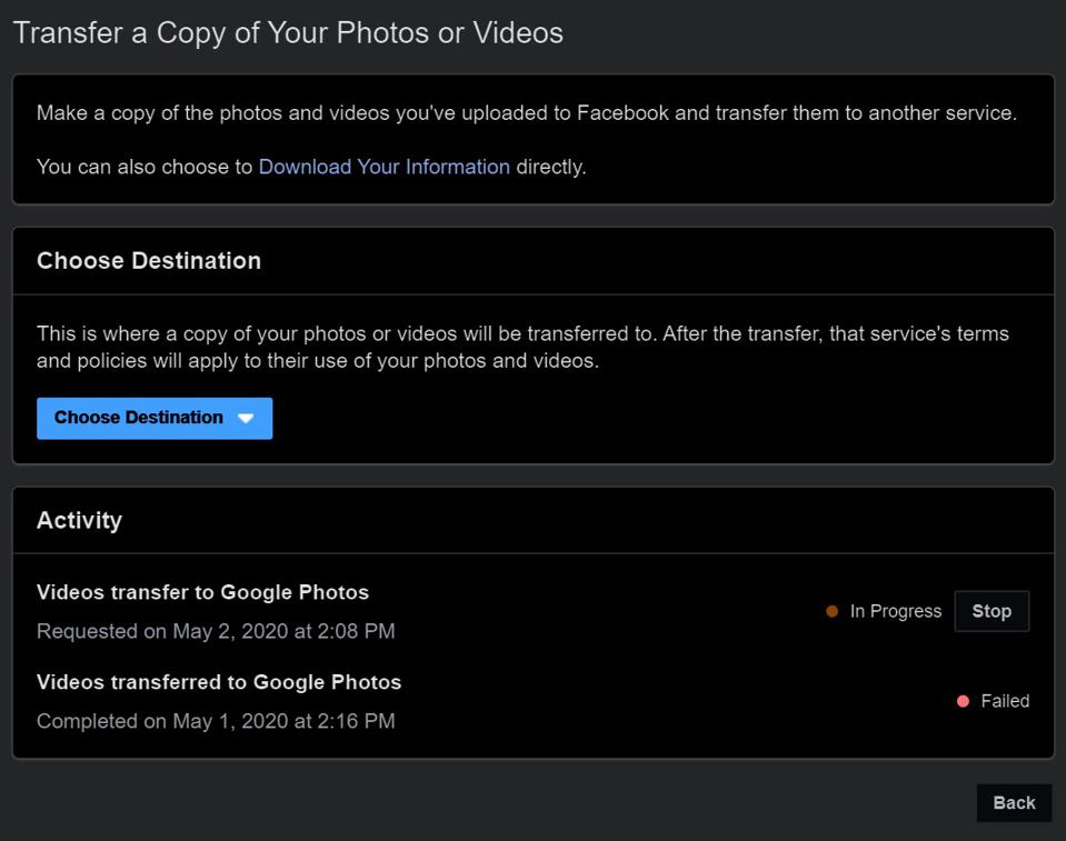 Facebook's dedicated page helps you move photos and videos to Google Photos.