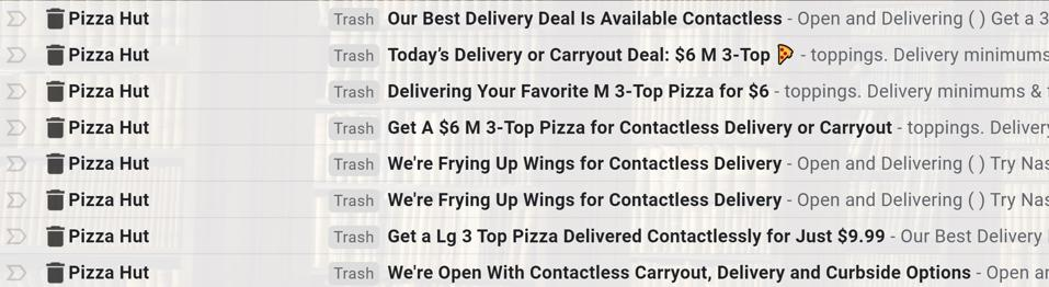 Marketing emails from Pizza Hut offering delivery