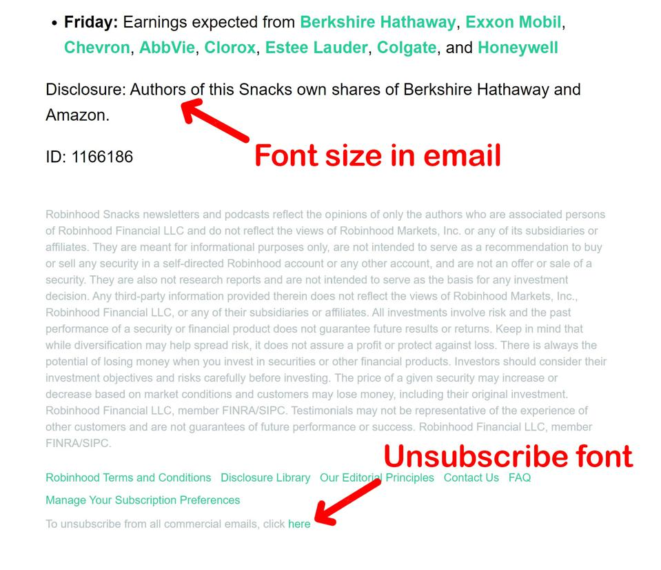 Tiny gray font makes unsubscribe link hard to see