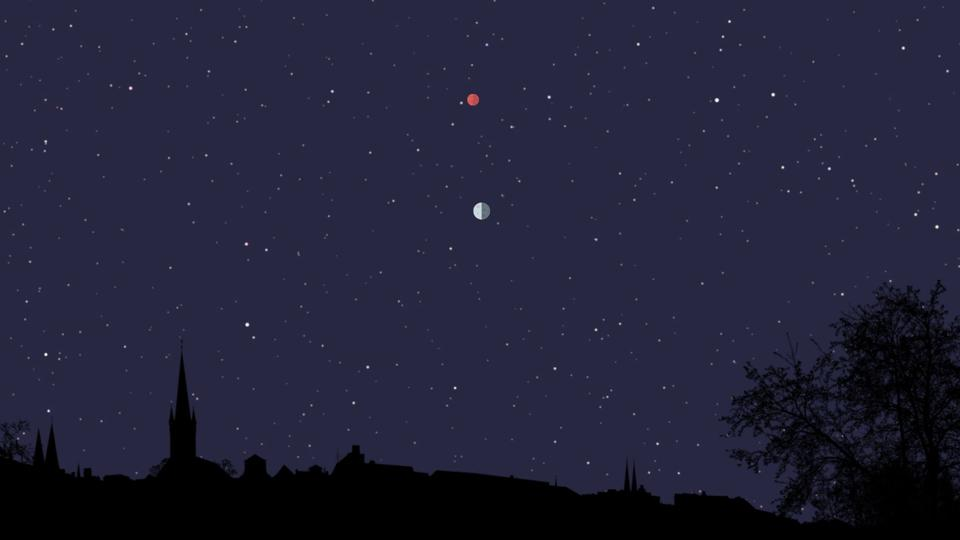 Thursday and Friday, May 14/15, 2020: A last-quarter Moon and Mars