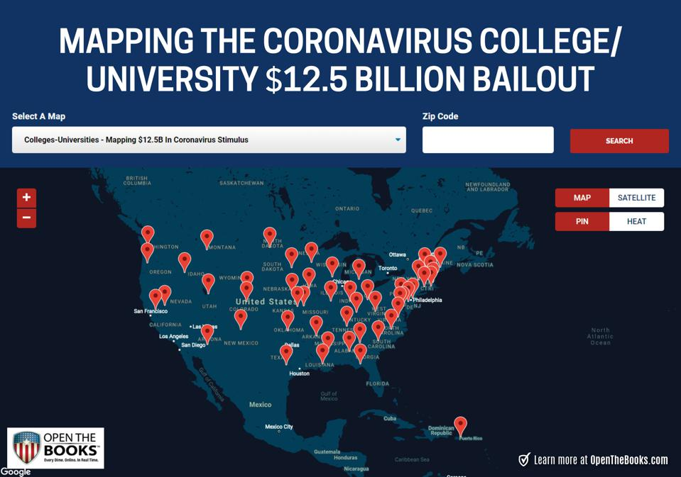 Mapping $12.5 billion in CARES Act bailout funding of America's institutions of higher education.