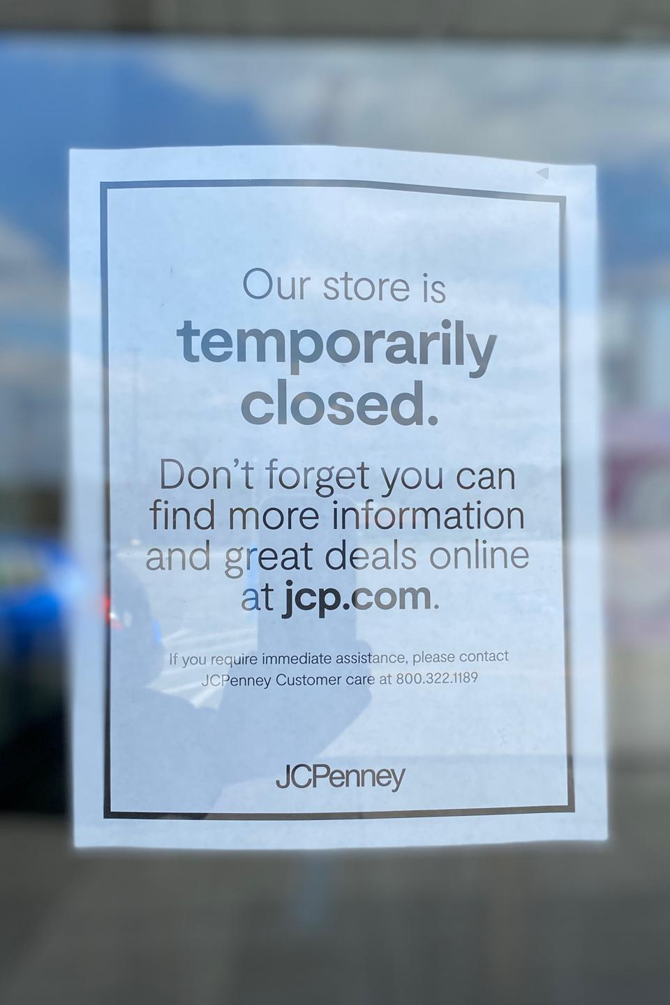 The JCPenney White Marsh Mall store in Maryland was temporarily closed on March 18, 2020 due to the COVID-19 outbreak.