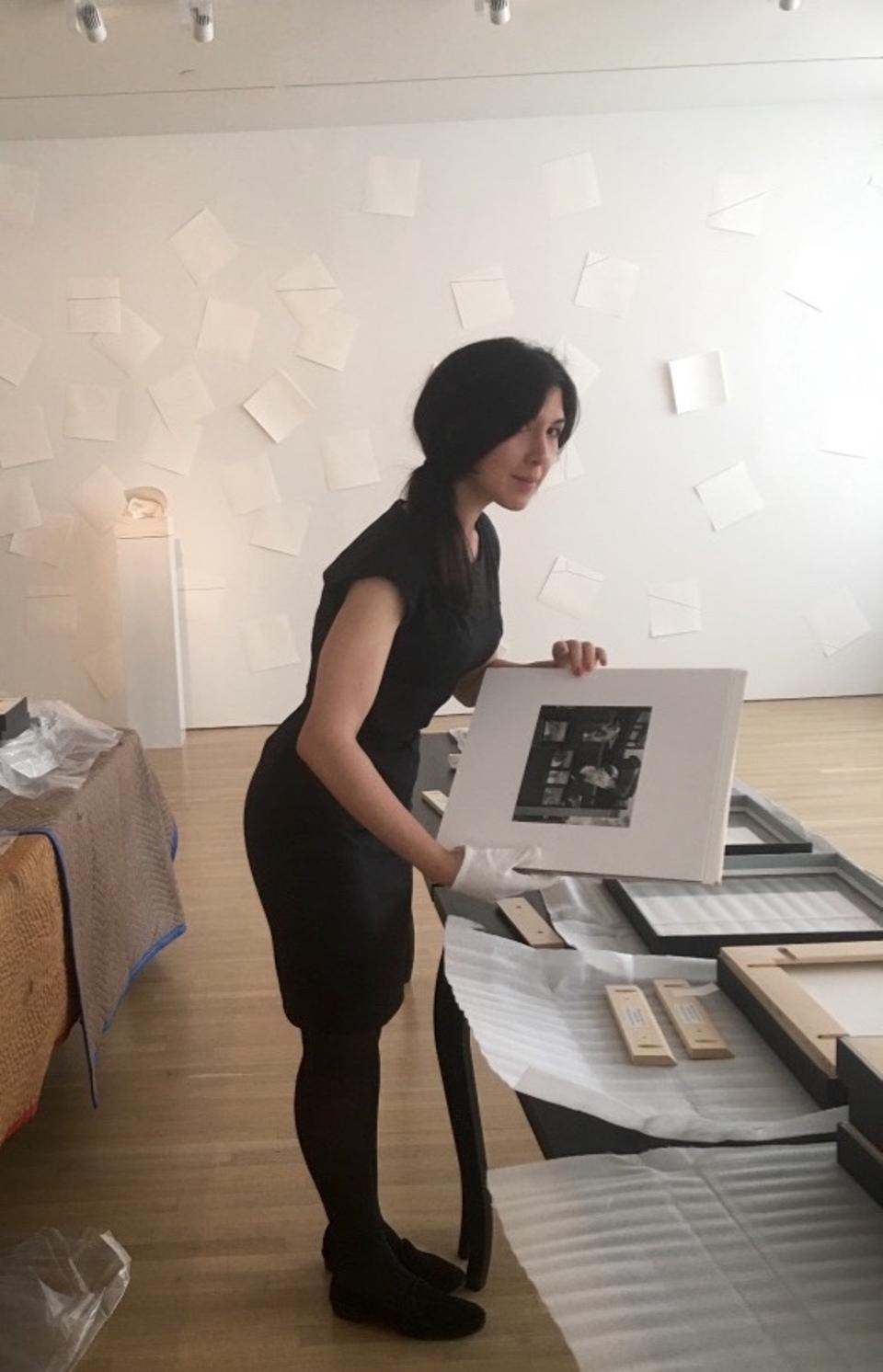 Genevieve Martin working on an installation at the Art Students League of New York.