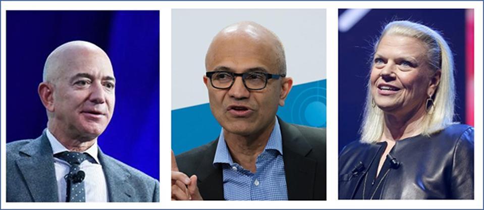 Amazon CEO Jeff Bezos, Microsoft CEO Satya Nadella; former IBM CEO Virginia Rometty