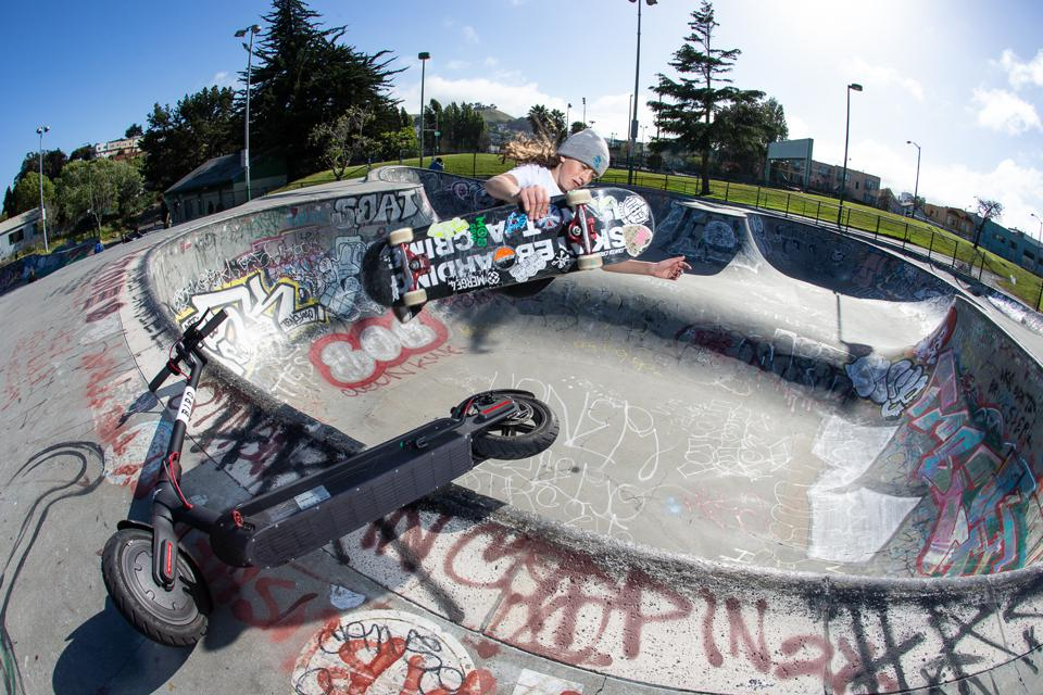 Stess skates at Potrero Park in northern California.