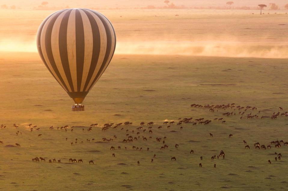 A hot air balloon safari over the Serengeti, Tanzania.