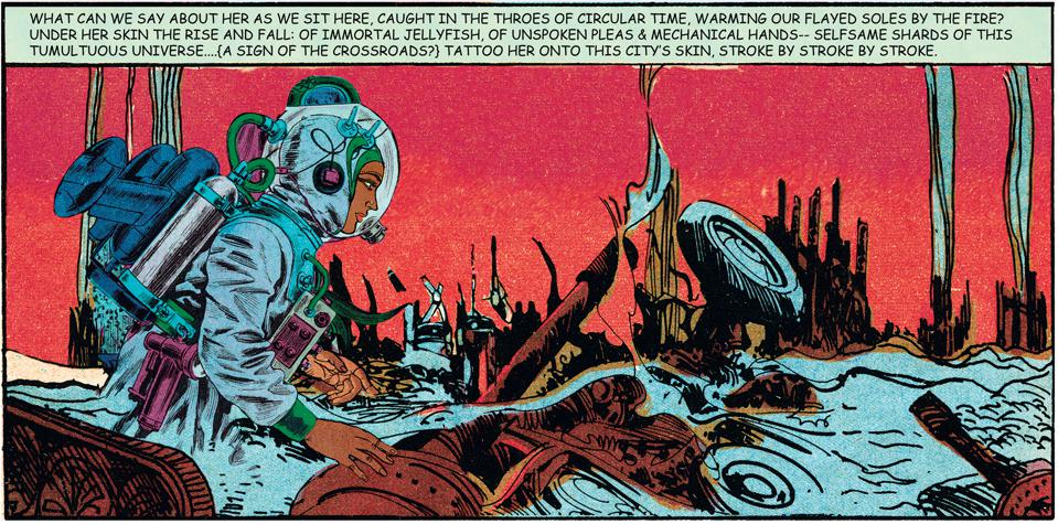 Comic illustration of a woman in a nuclear landscape in Bangladesh