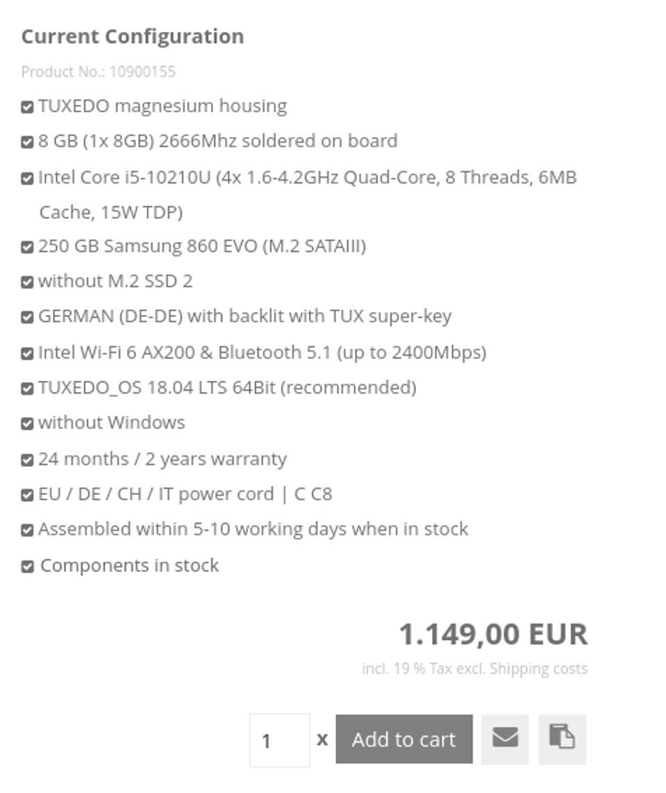 TUXEDO InfinityBook S 14 Base Config and Price